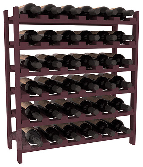 36 Bottle Stackable Wine Rack in Pine with Burgundy Stain traditional-wine-racks