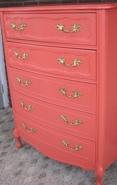 Vintage Coral French Provincial Dresser By Shabby Maggie contemporary