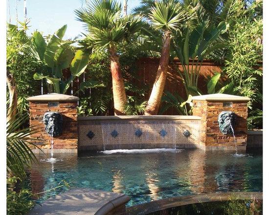 Neptune head pool fountain - Metal finish neptune head fountain