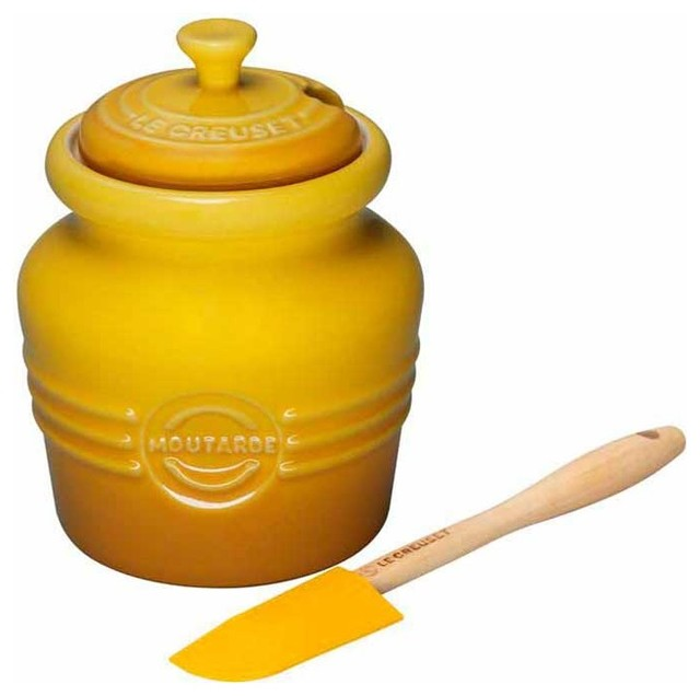 Le Creuset Stoneware Mustard Jar, Dijon Yellow traditional-food-containers-and-storage