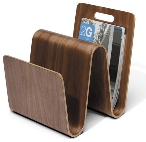 W Magazine Stand in Walnut modern-magazine-racks