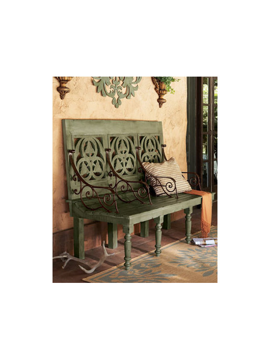 Distressed Three-Seat Bench - I want this one! It's perfect for the back porch.