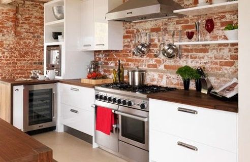 Red Brick Wallpaper In Kitchen - traditional - kitchen - houston ...