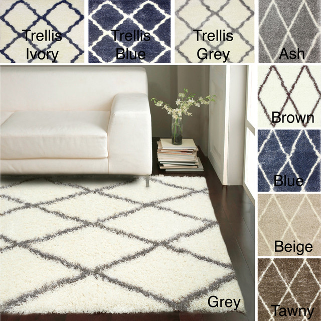 nuLOOM Moroccan Trellis Shag Rug (8' x 10') - Contemporary - Area Rugs - by Overstock.com