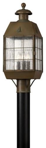 Nantucket Post Lantern in Aged Brass modern-outdoor-lighting