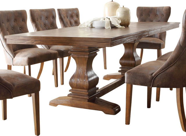 Homelegance Marie Louise Double Pedestal Dining Table In Rustic Brown Traditional Dining