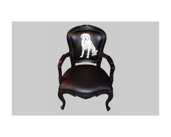 Eco Friendly Furnture and Lighting - Canine Chair.The company's Dog Arm Chair and Dog Chair present the head or body of different dogs painted on the chairs' backrests. From the playful golden retriever to the clownish basset hound, these fidos make an ironic statement against the traditional shape of the ornate chairs.