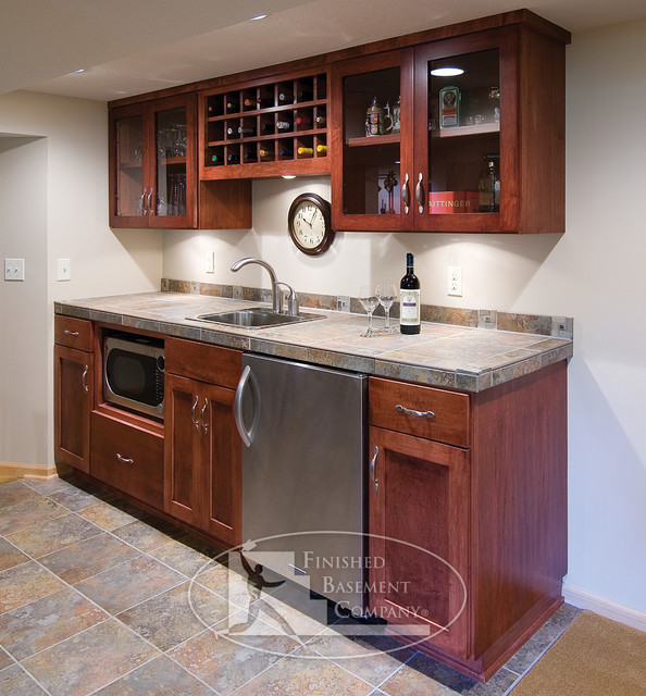 Basement walk up bar traditional basement for Kitchenette design ideas