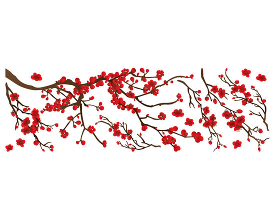 """Home Decor - Red Branch Wall Decals - This beautiful tree branch decal blooms a fresh Spring romance in decor. The kit includes lush red blossoms and a pretty branch. Contains 14 pieces on a 13.75"""" x 39.4"""" sheet. Imported from Italy."""