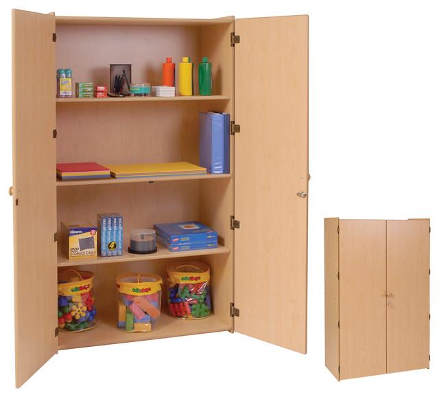 Steffywood Organizer Teachers 3 Shelf Wooden Locking Storage Cabinet - Contemporary - Filing ...