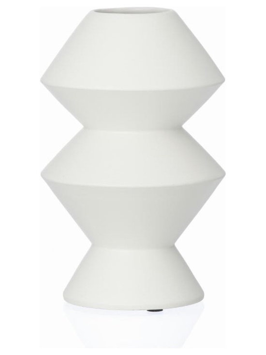 Ferm Living Ceramic Vase 3 - You might think that this is just another Vase. But there is more to it than what meets the eye! If you look a little closer, you will discover that each of the Vases by Ferm Living is a combination of geometric figures.