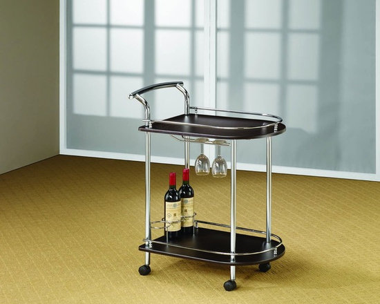 Kitchen Furniture - Contemporary Cappuccino Serving Cart