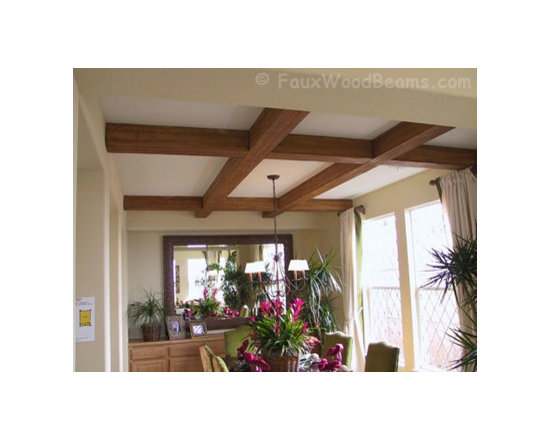 Sandblasted Faux Beams - A simple coffered ceiling design helps to enliven this small dining area.