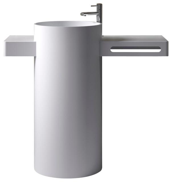 ADM Free Standing Stone Resin Pedestal Sink, Matte - Modern - Bathroom ...
