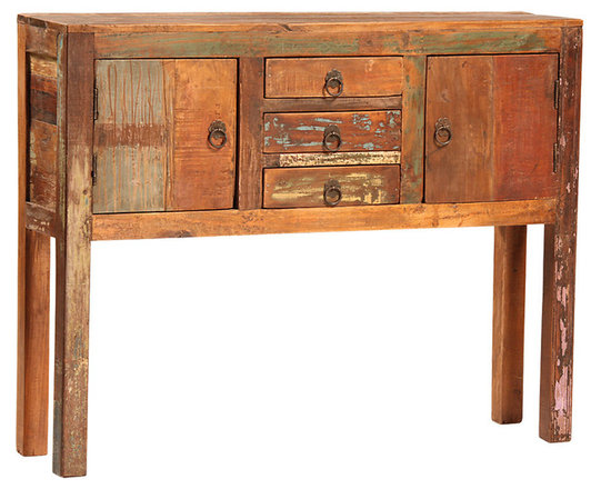 Nantucket 2 Door, 3 Drawer Console - The Nantucket 2-Door, 3-Drawer Console brings character and rustic appeal to the home. It is hand-built from reclaimed hardwoods and finished in a sealed medium brown with highly distressed accents. Each drawer and door is finished with an antiqued ring pull to complete the old world look. With a linear design, strong lines and angles, this console will not only go great in your dining room, but is versatile enough to work anywhere in your home. Perfect for small storage and for showing off a favorite sculpture or painting, this console is a lovely and charming choice.