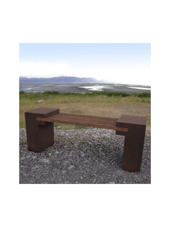 Bridge Bench - I love the modern, industrial feeling of this bench. It would be a great contrast nestled in a  nook of a flower garden.
