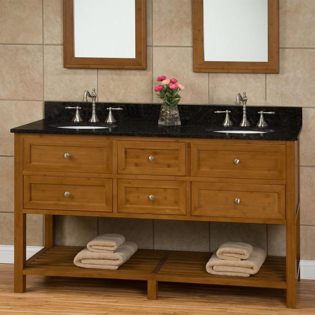 60 taren bamboo double vanity for undermount sinks for Modern bamboo bathroom vanity