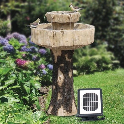 Alpine Solar Rustic Log Fiberglass Bird Bath Fountain eclectic-bird-baths