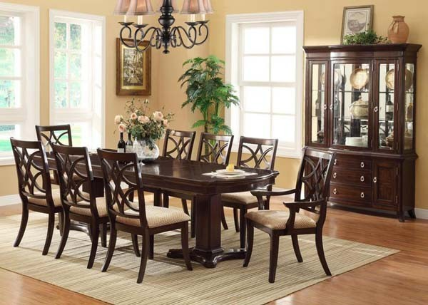 transitional dining room set in dark cherry finish transitional