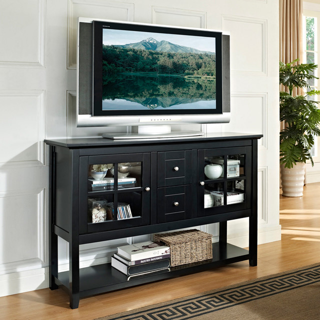 Black 52 Inch Wood Console Table TV Stand