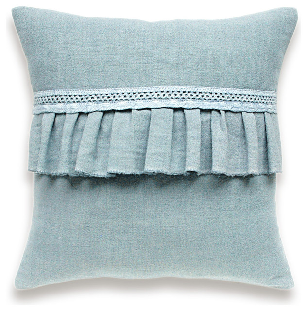 Decorative Pillow Trim : Hand Dyed Linen Pillow with Ruffle and Lace Trim In Blue 16 inch Decorative Cush