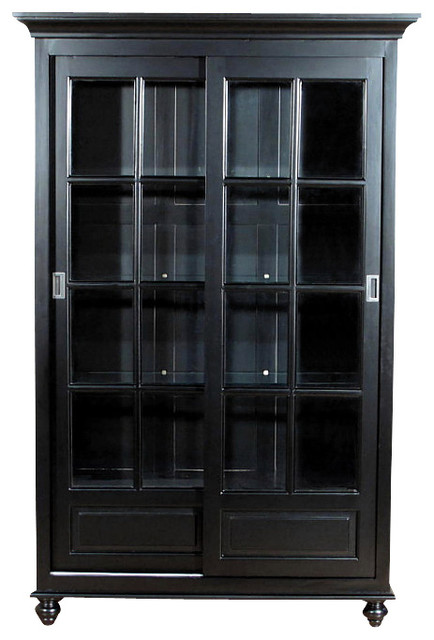 Black Curio China Display Cabinet - Traditional - China Cabinets And ...