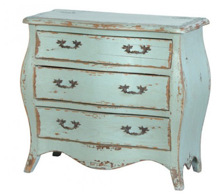 Aqua Marine Three-Drawer Bombe Chest traditional dressers chests and bedroom armoires