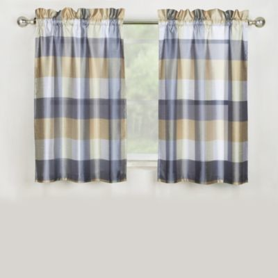 Mystic Plaid Kitchen Window Curtain Tier Pair and Valance in Grey - Contemporary - Valances - by ...