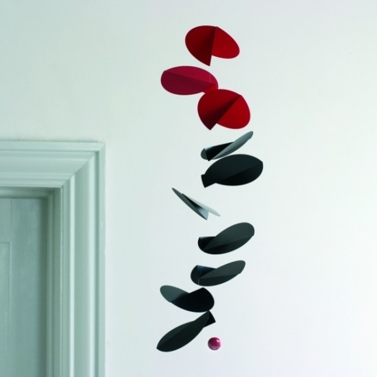 Turning Leaves Mobile, Black and Red contemporary mobiles