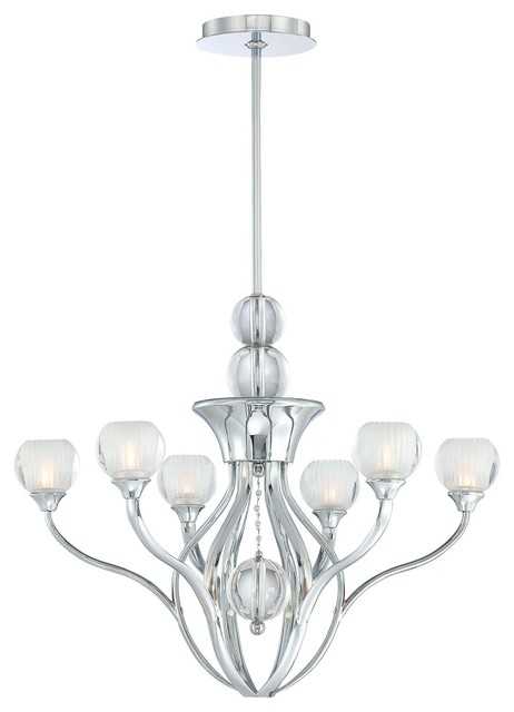 George Kovacs Curvy Chrome 6-Light Chandelier contemporary-chandeliers