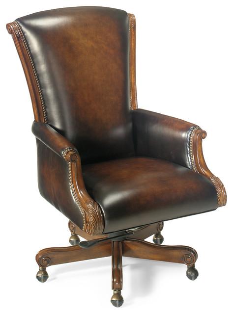 Hooker Seven Seas Distressed Brown Leather English Swivel