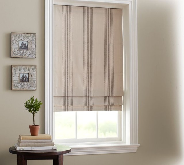 French Stripe Cordless Roman Shade traditional roman blinds