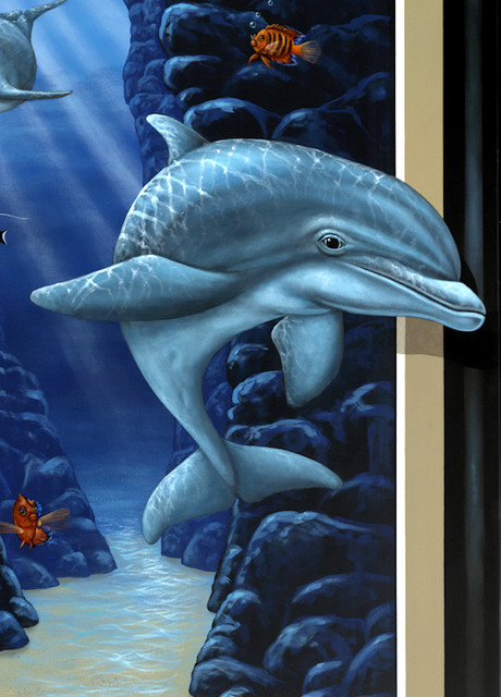 "Original Fine Art on Gallery Wrap Canvas, ""Dolphin Cave"" by Tom ""Han"" Taylor tropical-home-decor"