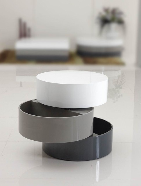 Contemporary Side Table : ... ROUND END TABLE WITH STORAGE KUJI modern-side-tables-and-accent-tables