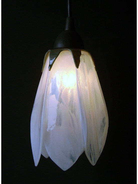 """Glass Pendant Lights - Tulip Shaped - These hand made kiln fired glass tulip shades come in assorted colors and include hardward (bronze, brushed nickel or black).  Shade dimension is 7"""" tall."""