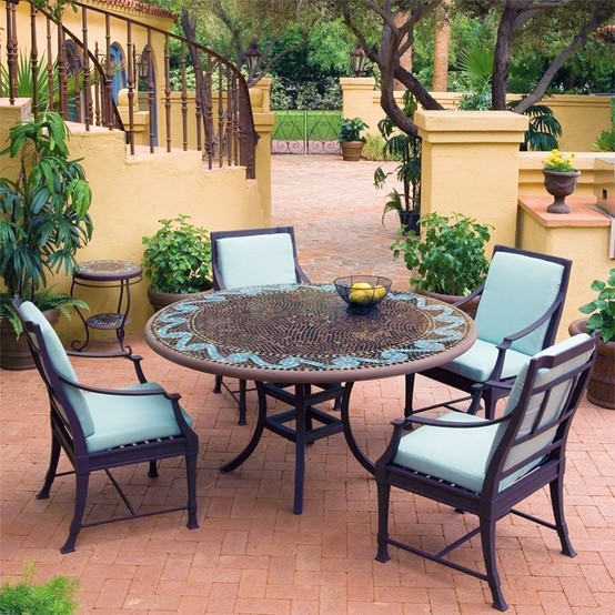 Iron Mosaic Patio Set Eclectic Outdoor Dining Sets