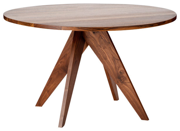 Round walnut dining table modern dining tables by for Contemporary round dining table