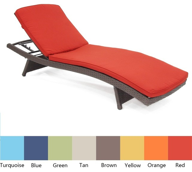 Wicker Adjustable Chaise Lounger with Cushions - Set of 4 contemporary-day-beds-and-chaises