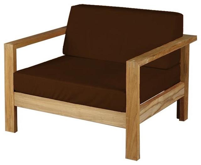 Barlow Tyrie Linear Teak Armchair W Cushion Bay Brown