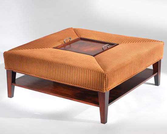 Etterbeek Cocktail Table / Ottoman - Art | Harrison Collection - Square mahogany wood frame with lower shelf and upholstered edges. Features storage cubicle in center & a removable mahogany serving tray.