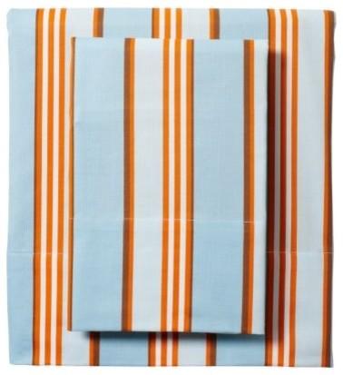 Aqua/Orange Club Stripe Sheet Set traditional-sheets