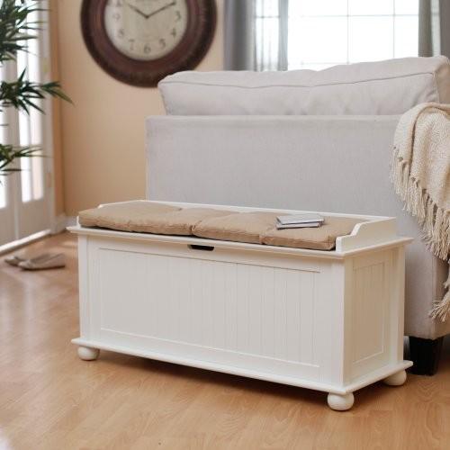 Finley Home Morgan Traditional Flip Top Storage Bench - Vanilla contemporary-bedroom-benches