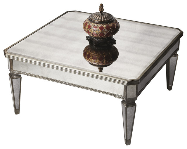 Antique Finished Square Mirrored Cocktail Table Contemporary Coffee Tables By Contemporary