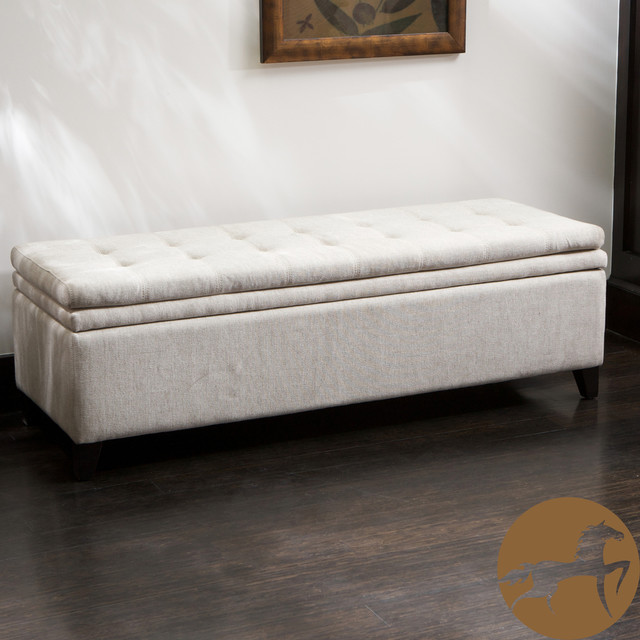 Christopher Knight Home Brighton White Linen Storage Ottoman Traditional Footstools And