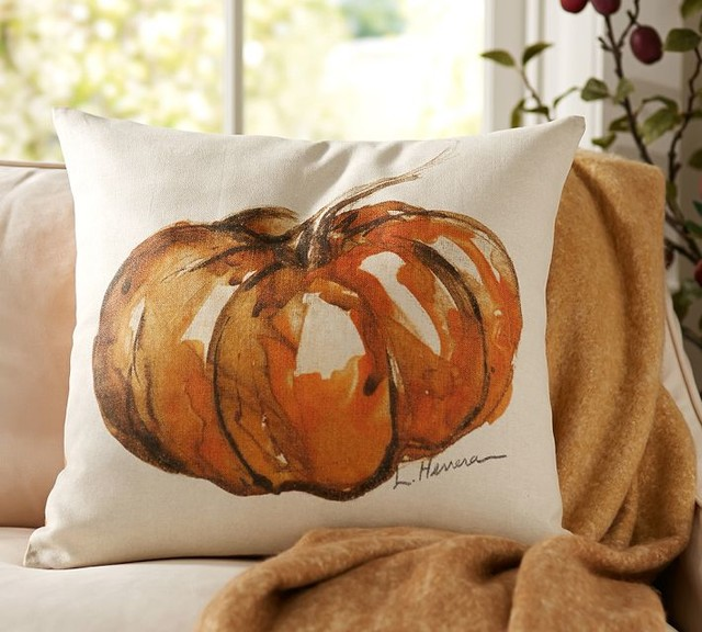 Painted Pumpkin Patch Pillow Cover Contemporary