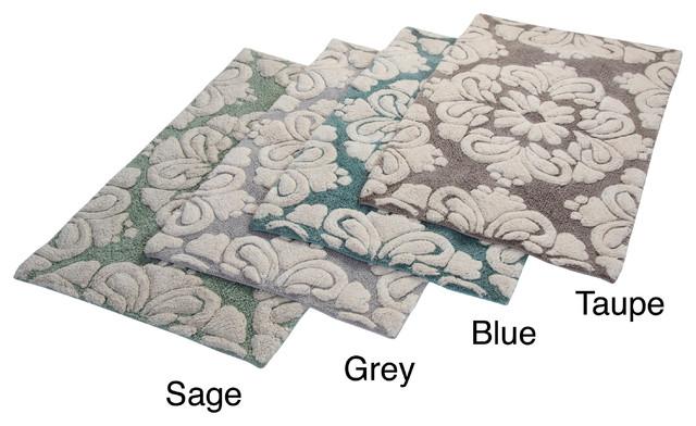 Medallion Cotton Tufted Non-skid Bath Rug (Set of 2) contemporary-bath-mats
