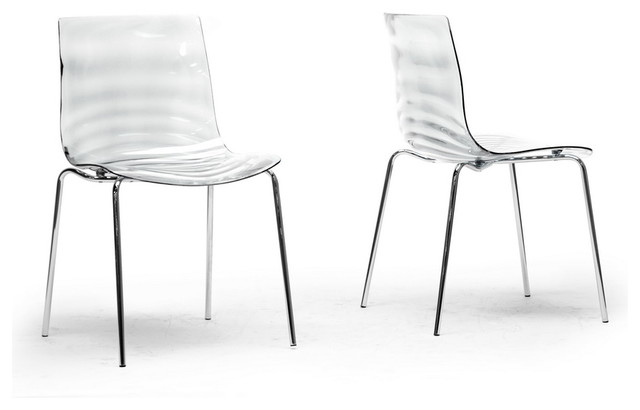 Baxton Studio Marisse Clear Plastic Modern Dining Chair (Set of 2) contemporary-dining-chairs