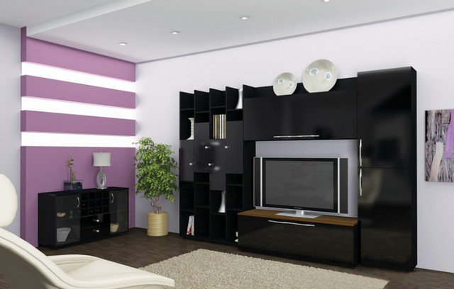 Cobra Black Gloss Wall Unit - Contemporary - Entertainment ...