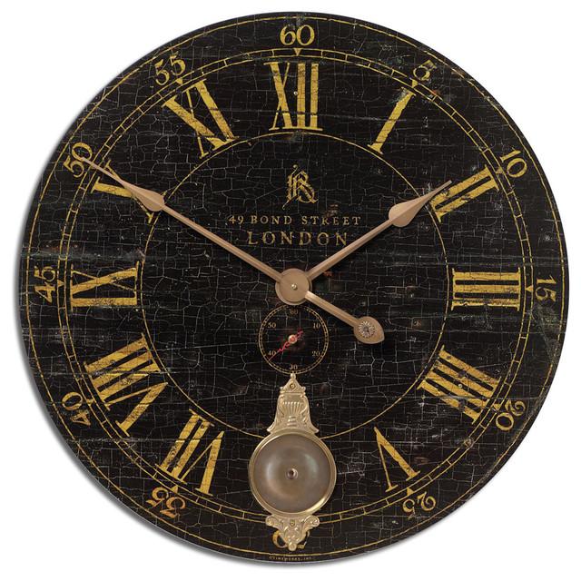 """Uttermost 06030 Bond Street 30"""" Black Wall Clock contemporary-wall-clocks"""