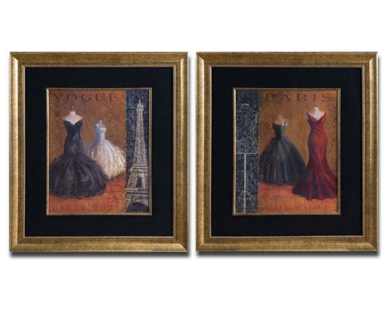 "Uttermost Couture Set of 2 Framed Art - Uttermost Couture Set of 2 Framed Art features multiple frames and fillets with gold leaf base coats and light brown and black accents. Dimensions: 32.3"" High, 28.25"" Wide."